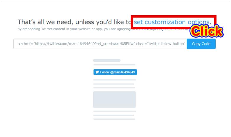 フォローボタンを大きくする方法「set customization options.」という部分がリンクになっているのでクリック
