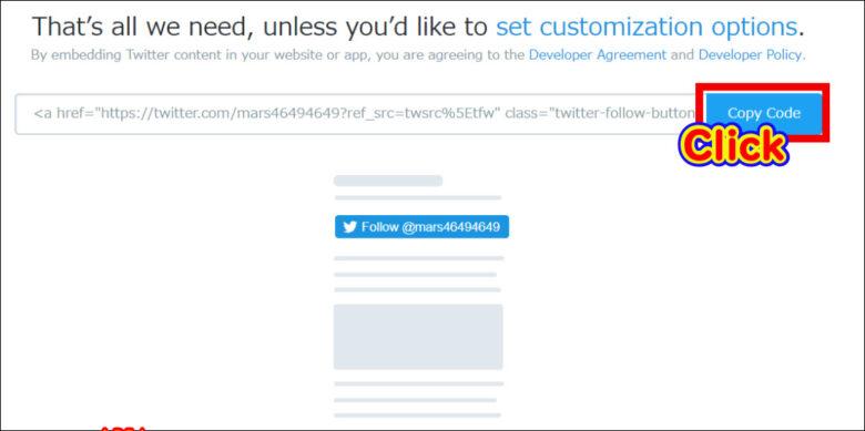 『Twitter Publish』『Copy Code』をクリックしてコードをコピー