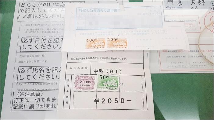 運転免許証の『うっかり失効』交付手数料の2,050円と講習手数料の800円で合計2,850円