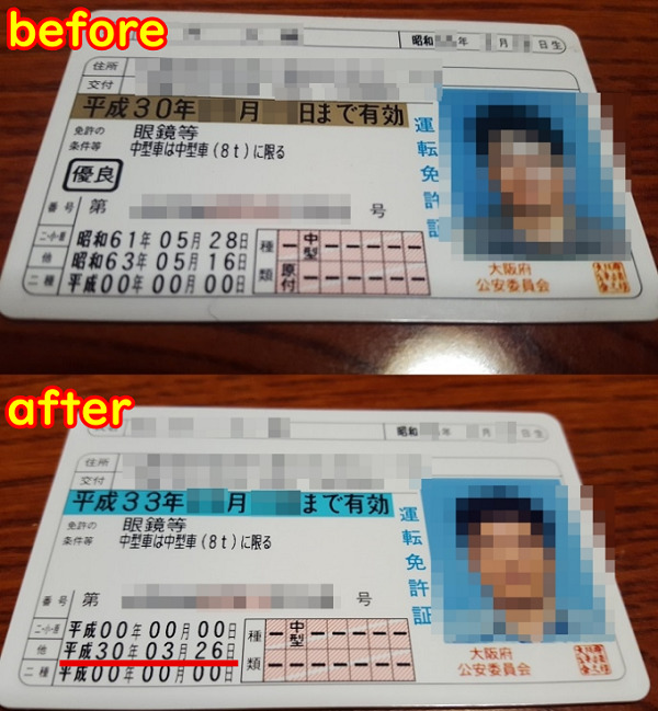 運転免許証の『うっかり失効』失効前ゴールド免許 失効後ブルー免許