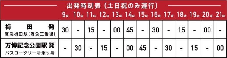 『梅田⇔エキスポシティ』直通バス時刻表