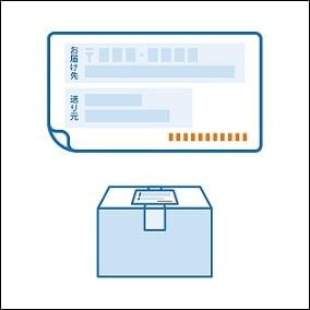 商品が配送されて来た時のバーコードや問い合わせ伝票番号が印刷された送り状ラベルを剥がして同封します。