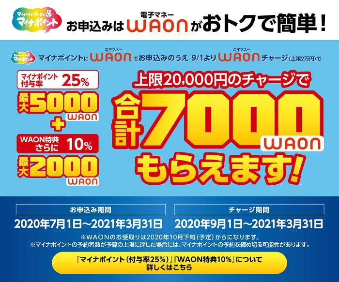 【WAON】マイナポイント登録で7,000ポイント還元~申し込み方法を詳しく紹介