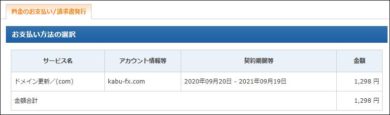 失効後30日以内の「.com」を復旧させる方法 「.com」を1年更新した場合の料金は1,298円(税込)