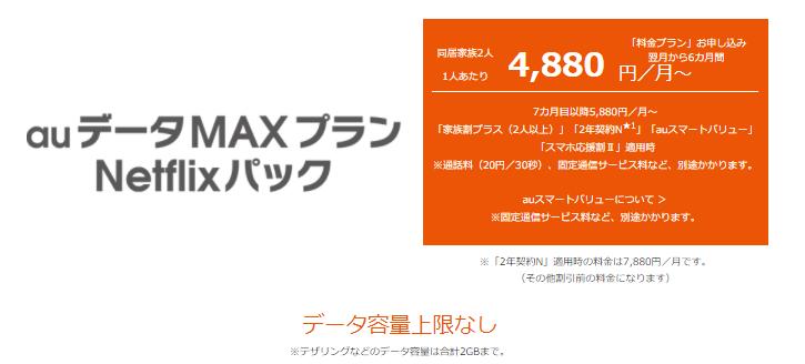 auデータMAXプランNetflixパック
