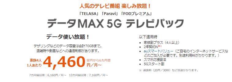 データMAX 5G テレビパック