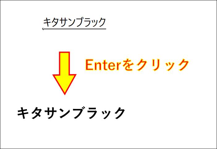 キーボードを使い文字を入力して行き最後にEnterを押すとテキストが表示される