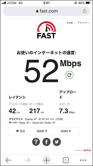 J:COMモバイル 通信速度 平日9:00