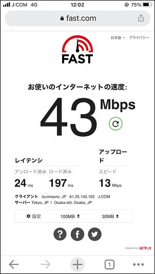 J:COMモバイル 通信速度 平日12:00