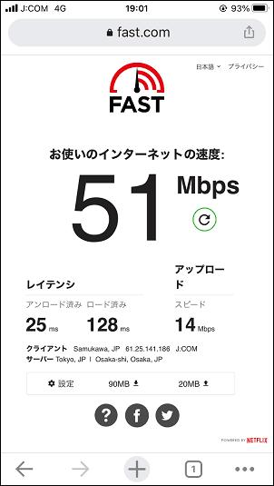 J:COMモバイル 通信速度 平日19:00